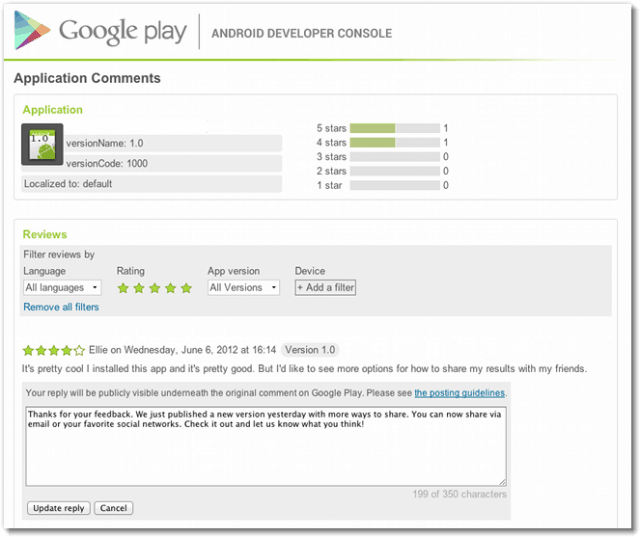 Reply google play android programs