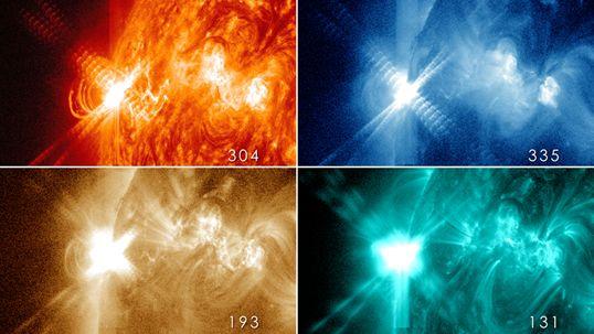 Quattro immagini del brillamento, viste con quattro diverse lunghezze d'onda.