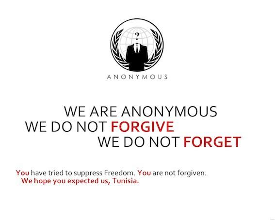 Pagina di deface del gruppo Anonymous. Un gruppo di cracker cambia l'homepage di un sito per far motivi diversi in base all'etica che segue. Gli anonymous per diffondere un messaggio.