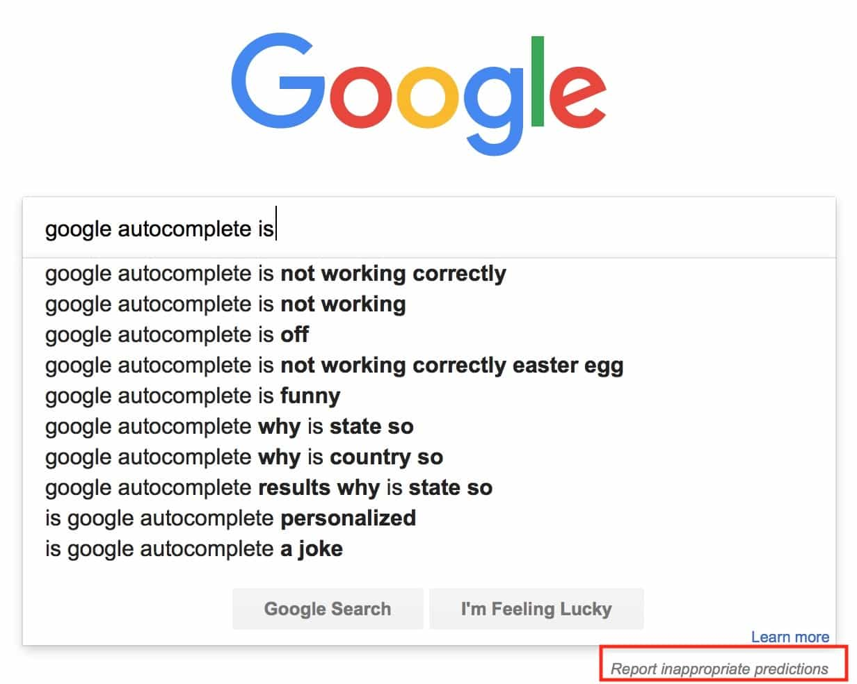 Report inappropriate prediction of autocomplete tool
